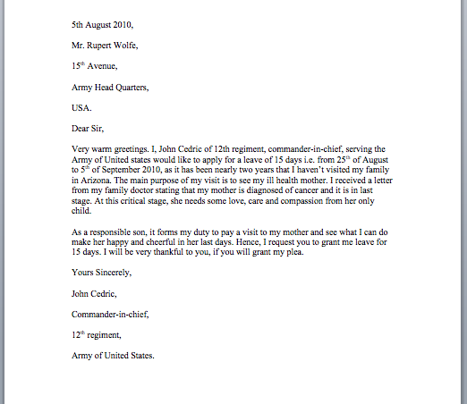 Leave Application Letter Sample