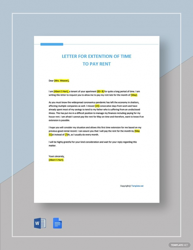 Letter For Extension Of Time To Pay Rent Template