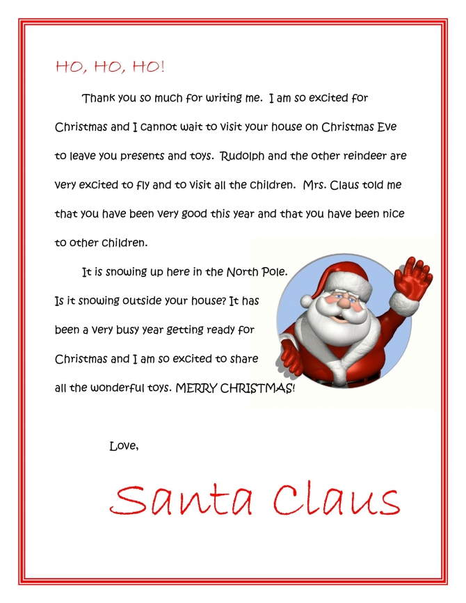 Letter From Santa Template Cyberuse By Letter From Santa Template