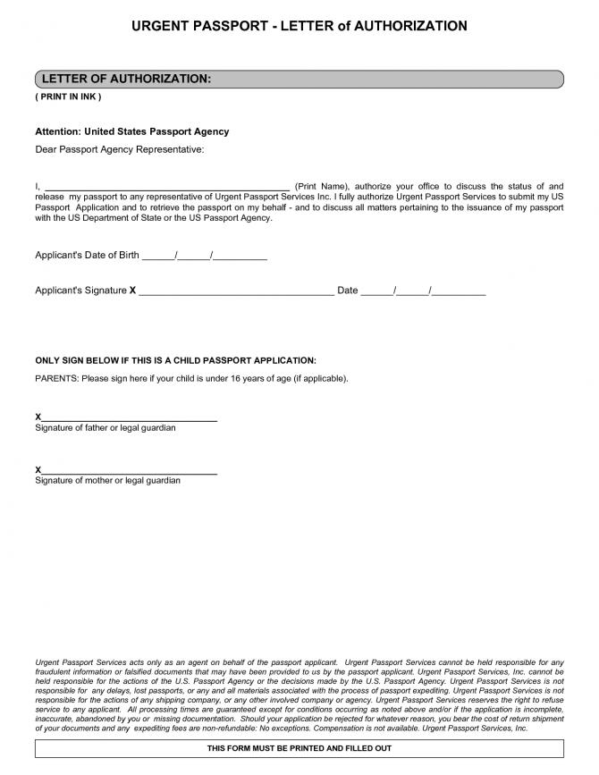 Letter Notarized Parental Authorization Sample Receive Passport