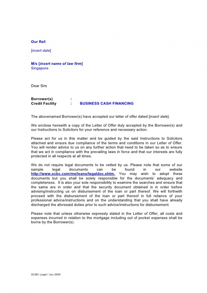 Letter Of Instruction For Business Cash Financing