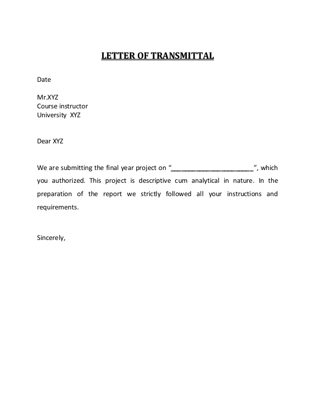 Letter Of Transmittal And Acknowledgement
