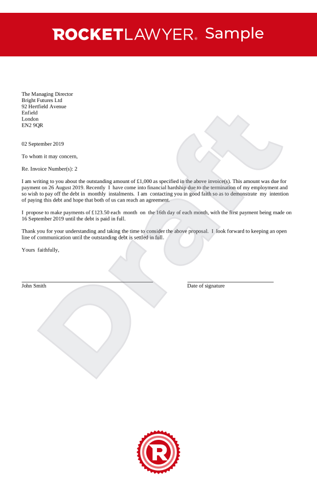 Letter Proposing Payment In Instalments Uk Template
