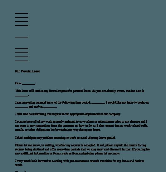 Letter Requesting Parental Leave