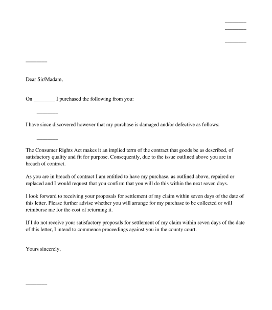 Letter To Claim A Refund  Replacement Or Repair Of Damaged Goods