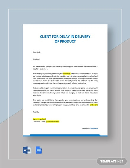 Letter To Client For Delay In Delivery Of Product Due To Covid