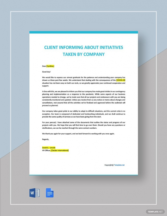 Letter To Client Informing About Initiatives Taken By Company Ad