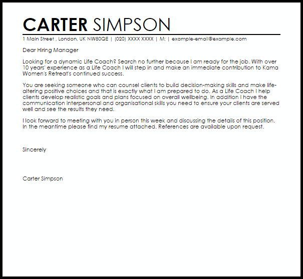 Life Coach Cover Letter Sample