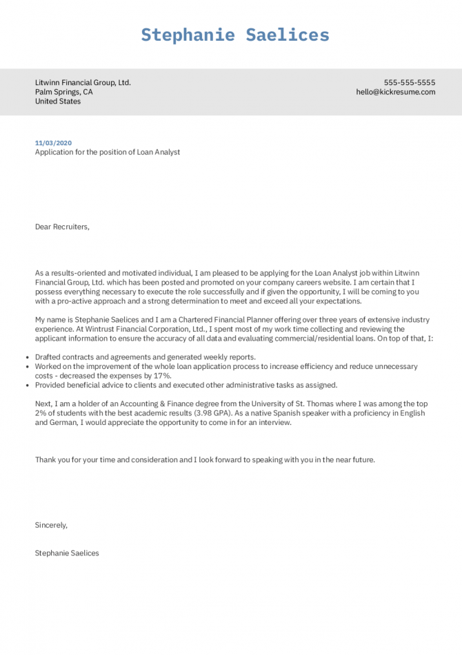 Loan Analyst Cover Letter Example
