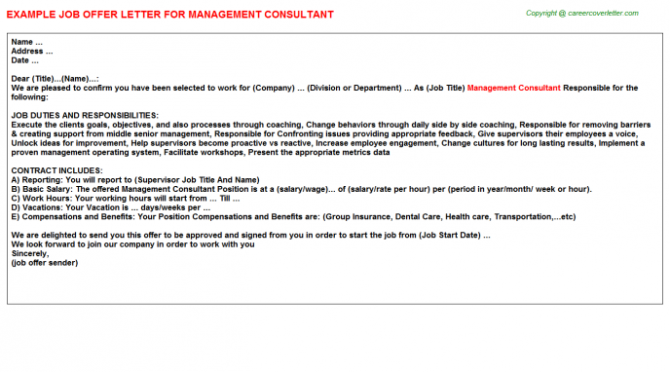 Management Consultant Offer Letter