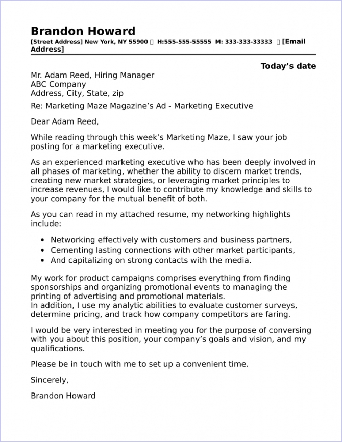 Marketing Executive Cover Letter Sample