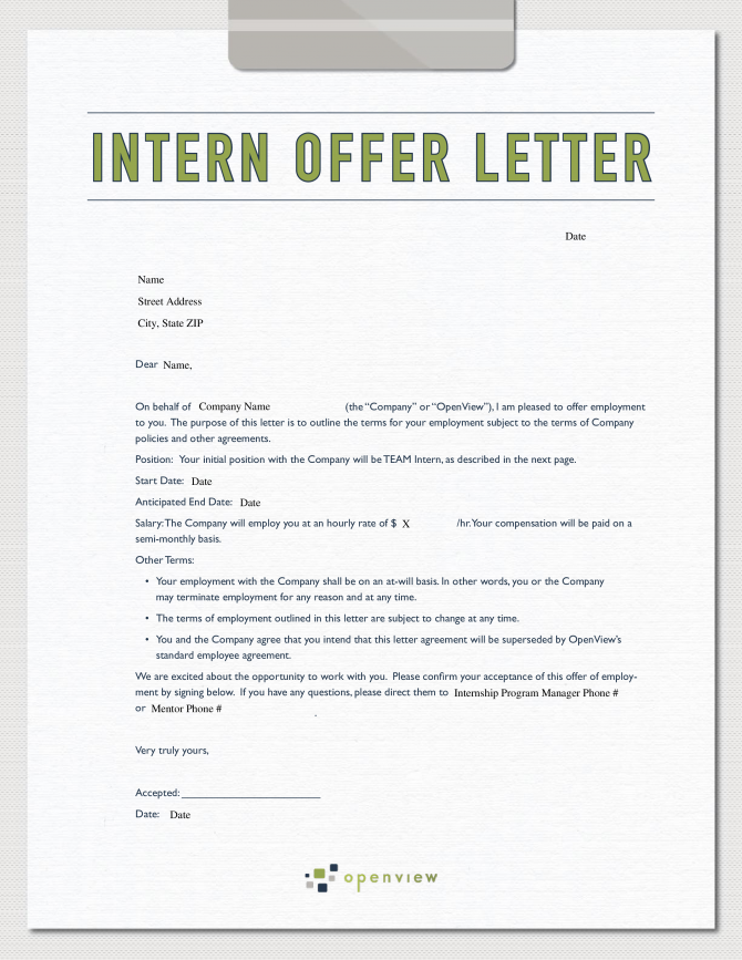 Marketing Internship Offer Letter Sample
