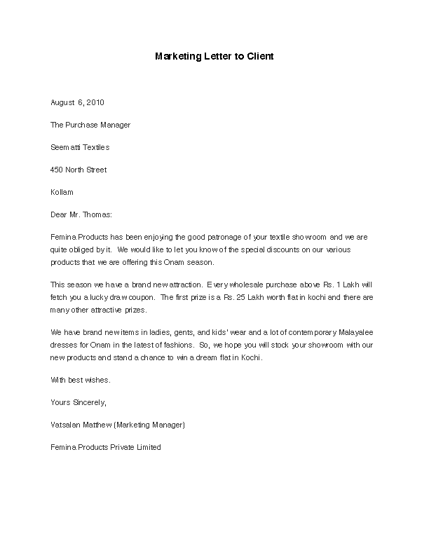 Marketing Letter To Client