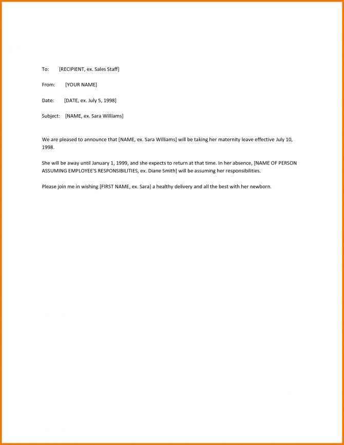 Maternity Leave Letter Notice Template Canada Application Related