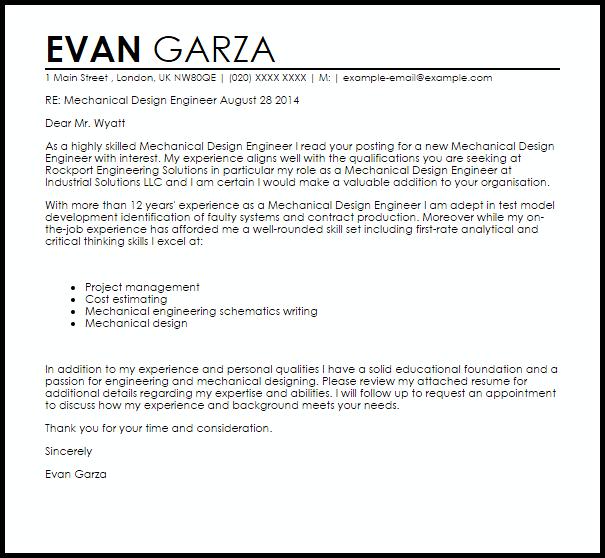 Mechanical Design Engineer Cover Letter Sample