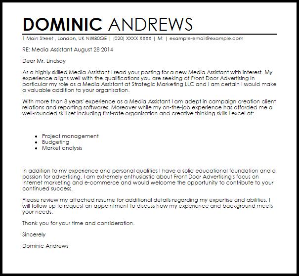 Media Assistant Cover Letter Sample