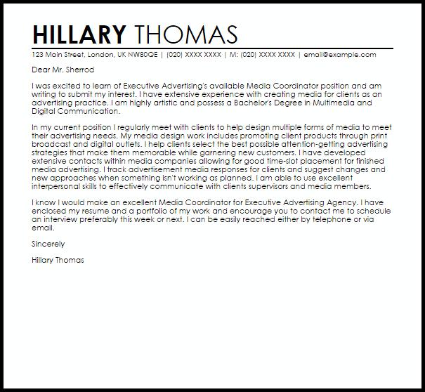 Media Coordinator Cover Letter Sample
