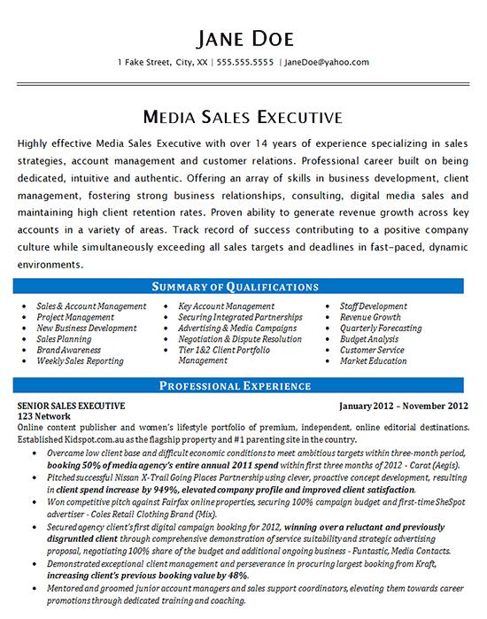 Media Sales Resume Example