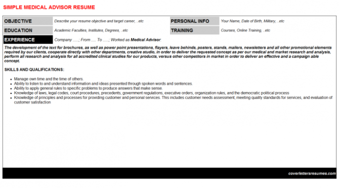 Medical Advisor Job Letter   Resume Template
