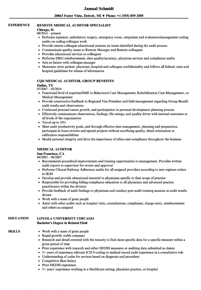 Medical Auditor Resume Samples