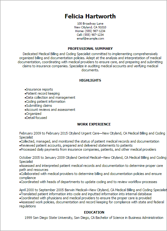 Medical Billing And Coding Specialist Resume Template  Best