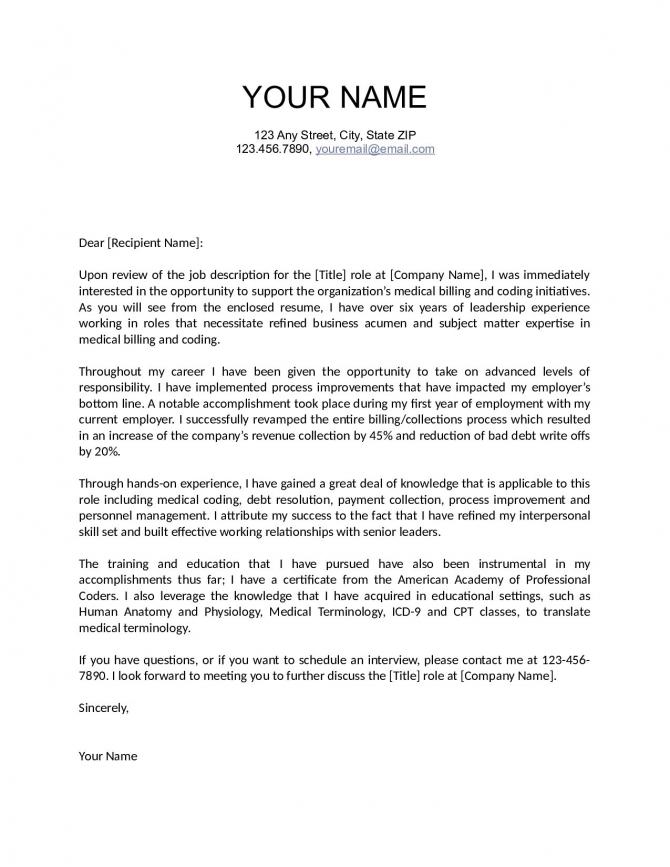 Medical Billing Cover Letter