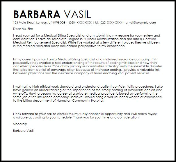 Medical Billing Specialist Cover Letter Sample