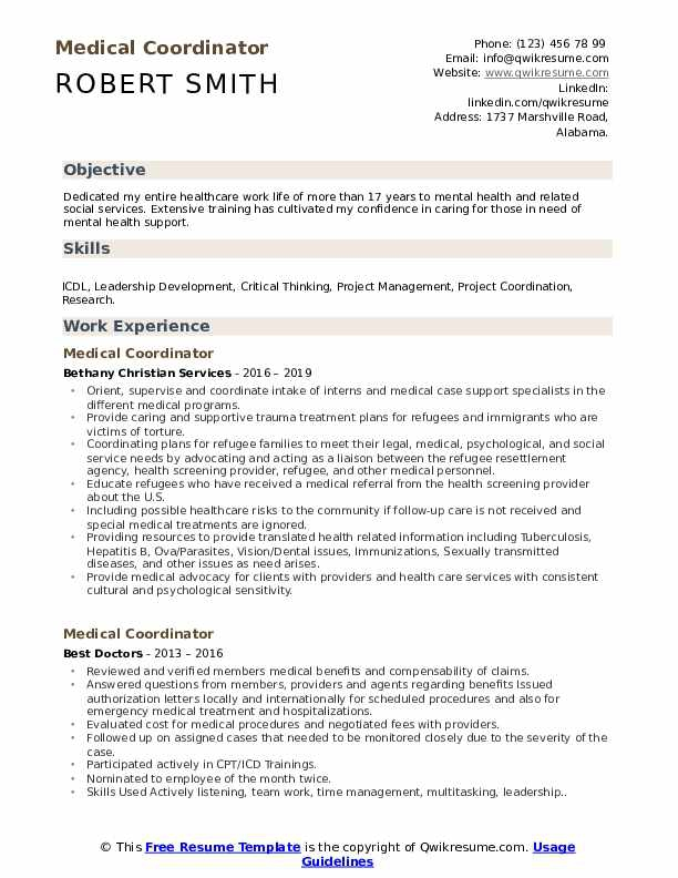 Medical Coordinator Resume Samples