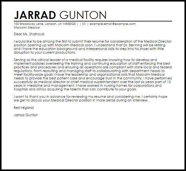 Medical Director Cover Letter Sample