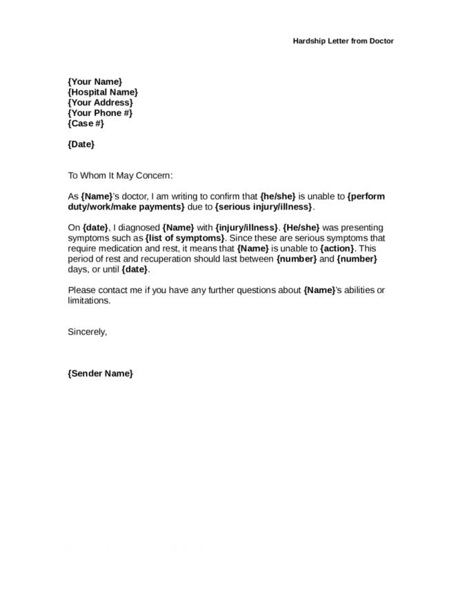 Medical Hardship Letter Samples