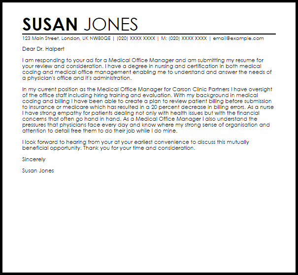 Medical Office Manager Cover Letter Sample