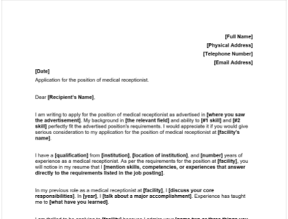 Medical Receptionist Cover Letter Template Included