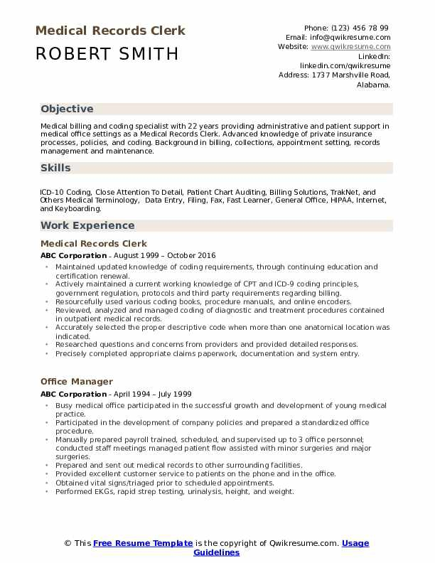 Medical Records Clerk Resume Samples