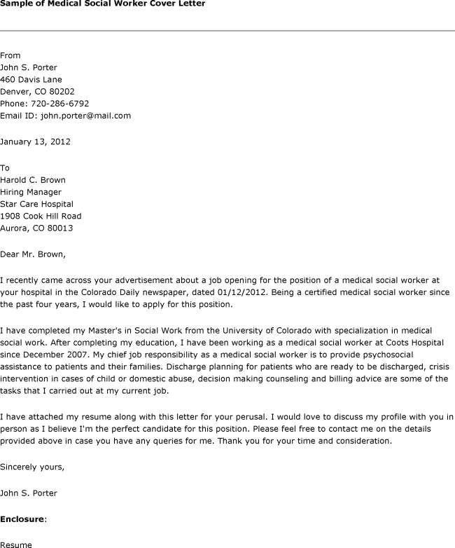 Medical Social Worker Cover Letter  Cover Letter