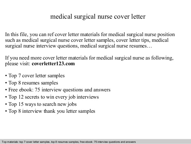Medical Surgical Nurse Cover Letter