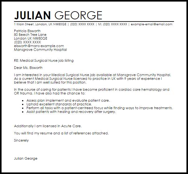 Medical Surgical Nurse Cover Letter Sample