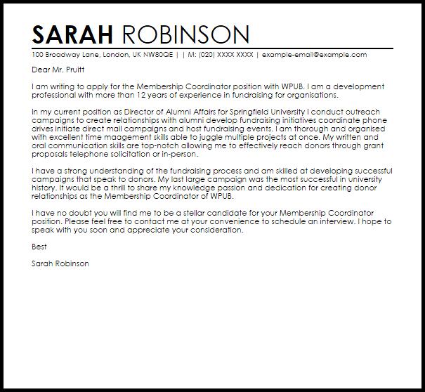 Membership Coordinator Cover Letter Sample