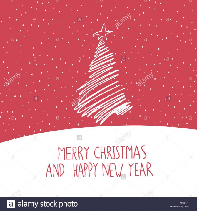 Merry Christmas Greeting Card Hand Drawn Simple Stock Vector Image