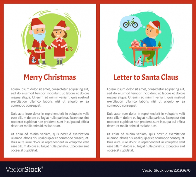 Merry Christmas Letter Santa Claus Written By Boy Vector Image