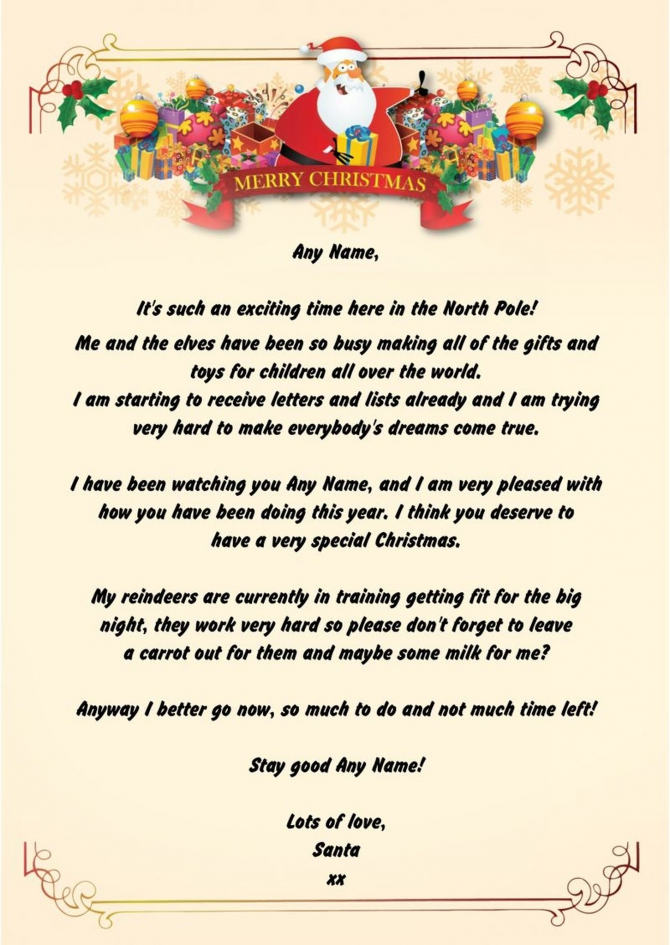 Merry Personalised Christmas Letter From Santa