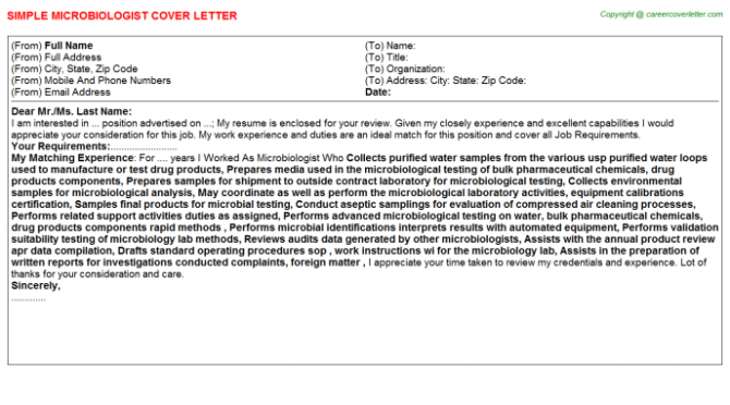 Microbiologist Cover Letter