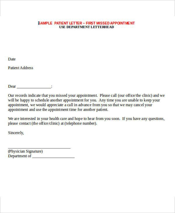 Missed Appointment Letter Template