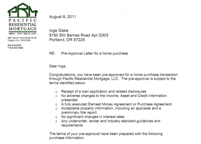Mortgage Pre Approval Mortgage Pre Approval Letter Sample