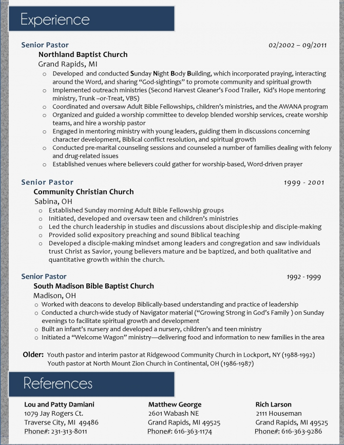 My Resume Design For A Pastoral Position  Page  Ill Do Yours