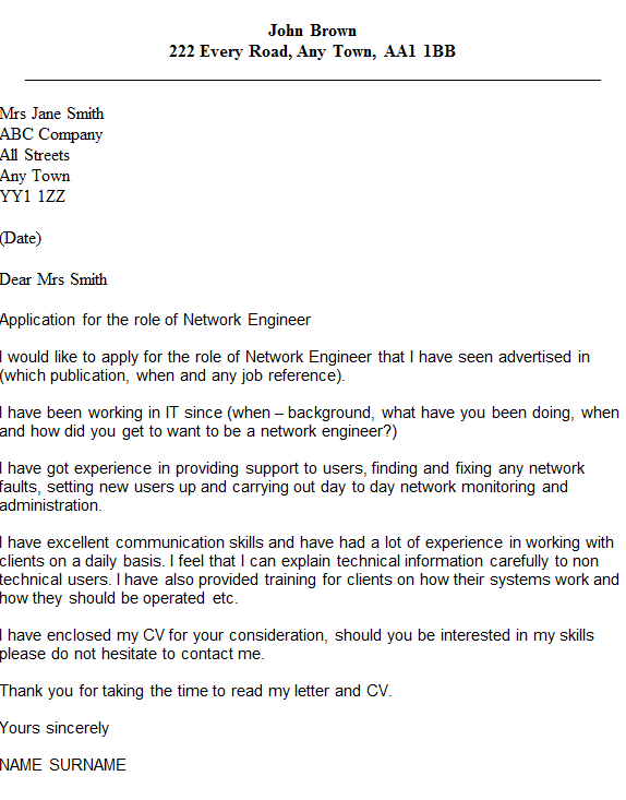 Network Engineer Cover Letter Example