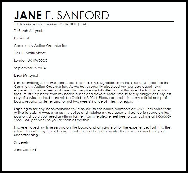 Non Profit Board Resignation Letter Example