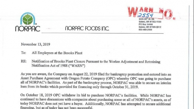 Norpac Foods  Inc To Lay Off More Than  Employees After Filing