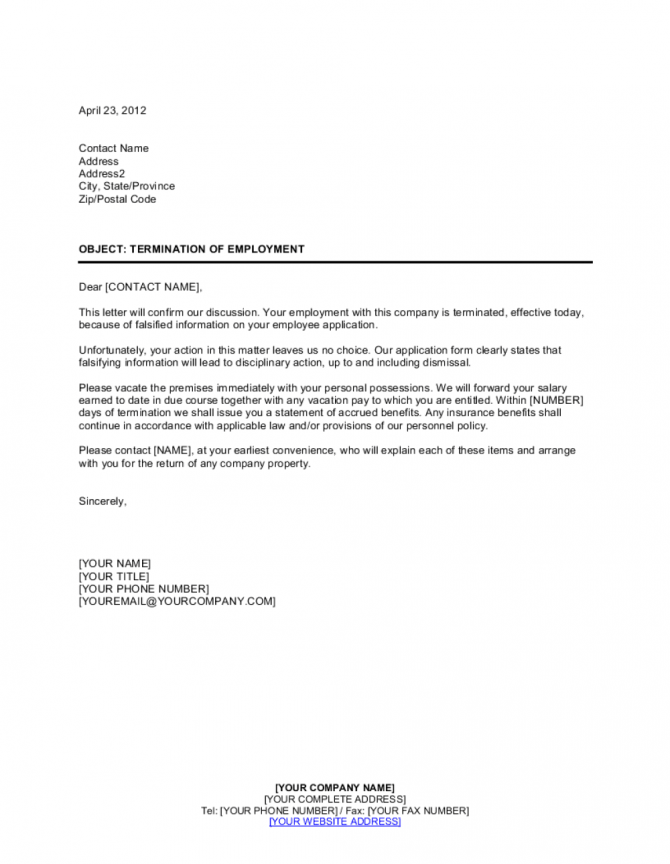 Notice Of Termination False Employee Information Template