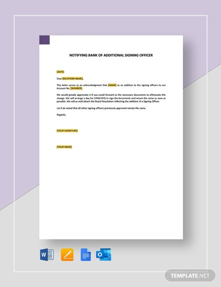 Notifying Bank Of Additional Signing Officer Template
