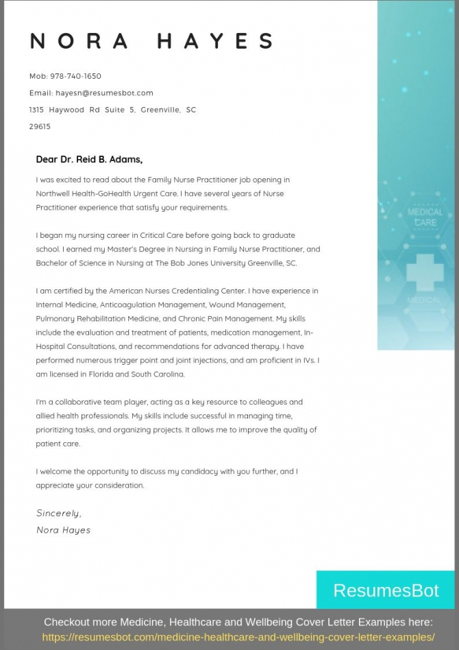 Nurse Practitioner Cover Letter Samples   Templates Pdfword